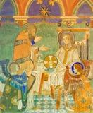 BERLIN TYSKLAND, FEBRUARI - 16, 2017: Freskomålningen av Kristi födelse av Jesus i evengelical kyrka för St Pauls Fotografering för Bildbyråer