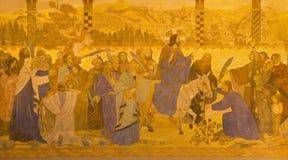 BERLIN TYSKLAND, FEBRUARI - 16, 2017: Freskomålningen av palmsöndagen i evengelical kyrka för St Pauls Arkivfoton