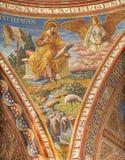 BERLIN TYSKLAND, FEBRUARI - 15, 2017: Freskomålningen av St Matthew evangelisten i kupol av den Rosenkranz basilikan Arkivfoto