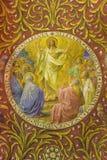 BERLIN TYSKLAND, FEBRUARI - 14, 2017: Freskomålningen av uppstigningen av Jesus i den kyrkliga Rosenkranz basilikan Arkivfoto