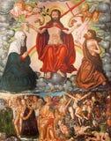 BERLIN TYSKLAND, FEBRUARI - 16, 2017: Målningen av den sista domen i kyrkliga Marienkirche av den okända konstnären av 16 cent Royaltyfria Foton