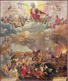 BERLIN TYSKLAND, FEBRUARI - 16, 2017: Målningen av den sista domen i kyrkliga Marienkirche av Michael Ribestein 1558 Royaltyfria Bilder