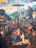 BERLIN TYSKLAND, FEBRUARI - 16, 2017: Målningen av korsfästelse i kyrkliga Marienkirche av den okända konstnären av 16 cent Arkivfoto