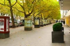 BERLIN TYSKLAND - OKTOBER 21 2015: Berömd shoppinggata Kurfurstendamm (Ku'Damm) i Berlin Royaltyfria Bilder