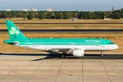 BERLIN Tyskland-September 7, 2018: Aer Lingus flygbuss A320-214 a arkivbild