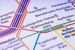 Berlin U Bahn översikt Med dess tio linjer den U-Bahn tunnelbanan, s Royaltyfri Fotografi