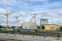 Berlin under construction with Hotel Ibis and Social Court Royalty Free Stock Photos