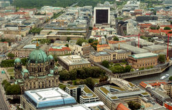 Berlin.View from the television tower. Photo was taken in May 2015.yYou can see the streets, crossing, cathedral Stock Image
