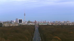 Berlin, view to Brandenburg Gate and the Tv tower stock video footage