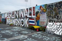 Berlin Wall in Bangkok. Concrete walls put up by the government to keep the anti-government protest away from the parliament, Bangkok, Thailand, 2013 Royalty Free Stock Image
