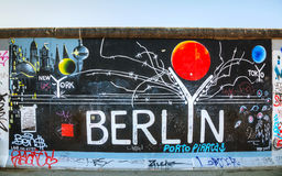 The Berlin wall (Berliner Mauer) with grafitti Royalty Free Stock Photo