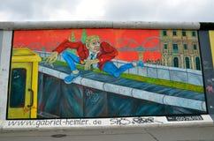 Berlin Wall (berlineren Mauer) i Tyskland Arkivbild