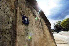 Berlin Wall com logotipo europeu da herança imagens de stock royalty free