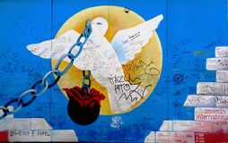 Berlin Wall dove graffiti Stock Image