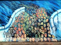 Berlin Wall East Side Gallery graffiti Royalty Free Stock Photos
