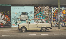Berlin Wall at East Side Gallery with Trabant car, Germany Stock Photos
