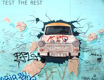 Berlin Wall East Side Gallery Trabant car graffiti Stock Photo