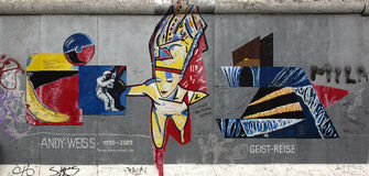 Berlin wall. Berlin, Germany - April 28th, 2015: Paintings on the Berlin Wall in the East Side Gallery Stock Images