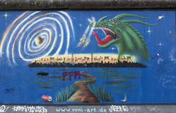 Berlin wall. Berlin, Germany - April 28th, 2015: Paintings on the Berlin Wall in the East Side Gallery Stock Photos