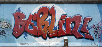 Berlin wall. Berlin, Germany - April 28th, 2015: Paintings on the Berlin Wall in the East Side Gallery Stock Image