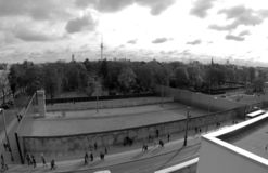 Berlin Wall.Berlin Remains.Black and white photo. Berlin Remains of the Berlin Wall.Black and white photo.Photographed from the height royalty free stock photo