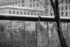 Berlin Wall. Retro view of an existing section of the Berlin wall with the poignant message, To Astrid, someday we will be together, written on the wall royalty free stock photo