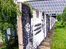 The Berlin wall. Ruins of the Berlin wall. A part of the wall, former border between the two Germany royalty free stock photo