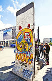 Berlin wall section with graffiti on display at Potsdamer Platz Stock Image