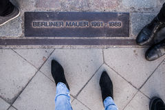 Berlin wall sign on the road, Berliner Mauer, Berlin. Germany Royalty Free Stock Photo
