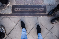 Berlin wall sign on the road, Berliner Mauer, Berlin. Germany Stock Image