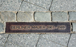 Berlin wall sign on the street, Berliner Mauer Stock Image