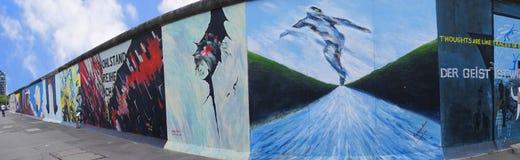 The Eastside Gallery of the Berlin Wall in Berlin Germany royalty free stock photo