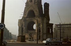 Berlin War Memorial. Berlin April 1960. Kaiser Wilhelm Memorial Church Stock Photography