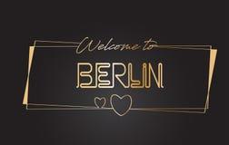 Berlin Welcome aan Gouden Van letters voorziende de Typografie Vectorillustratie van het tekstneon royalty-vrije illustratie