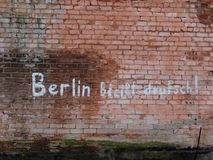 The writing on the wall: Berlin will remain German. Berlin will remain German. During the battle of Berlin, such signs were a means of propaganda Royalty Free Stock Photography