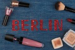 Berlin. World capitals of fashion. Word inlaid rhinestones and cosmetics. Stock Image