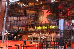 Berlinale Palast exterior during the 68th Berlinale Film Festival. Berlin, Germany - February 22, 2018: Facade of the Berlinale Palast in Berlin or the Theater royalty free stock photos