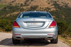 Berline hybride embrochable 2016 de Mercedes-Benz S 500e Images libres de droits