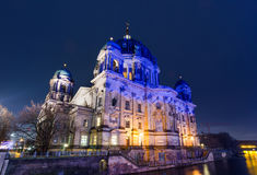 Berliner Cathedral lit at night Stock Image