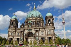 The Berliner Dom. Exterior view of the berliner dom with the TV tower in background Stock Images