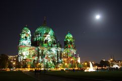 Berliner Dom. Night shot of berliner dom at festival of light Stock Photo