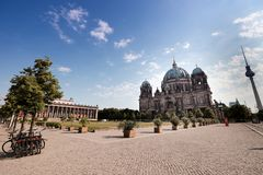 Berliner Dom, Altes Museum and Berliner Fernsehturm. Berlin landmarks Berlin Cathedral, The Altes Museum and The Fernsehturm are in the same photo Royalty Free Stock Photography