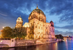 Berliner dom, Berlin cathedral at night, Germany Stock Photo