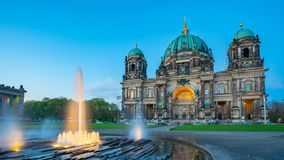 Berliner Dom in Berlin city, Germany at night on Museum Island in the Mitte borough.  stock photography