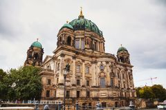 Berliner Dom in Berlin. On a cloudy day royalty free stock images