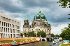 Berliner Dom in Berlin. On a cloudy day Royalty Free Stock Photo