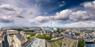 Berliner Dom and city buildings as seen from the air, Germany Stock Image