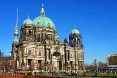 Berliner Dom, the famous historical cathedral of Berlin. Stock Photos
