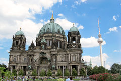 Berliner Dom and Fernsehturm. Full view of Berliner Dom, and Fernsehturm ( TV tower)in Berlin, Germany. It is located on Museum Island in the Mitte borough. The Stock Images