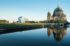 Berliner Dom with Humboldt-Box. Berliner Dom and Humboldt-Box at Museumsinsel in Berlin Mitte with river Spree in foreground Royalty Free Stock Photography